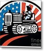 American Farmer Riding Vintage Tractor Metal Print by Aloysius Patrimonio