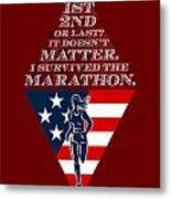 American Female Marathon Runner Retro Poster Metal Print by Aloysius Patrimonio