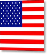 American Flag . Square Metal Print