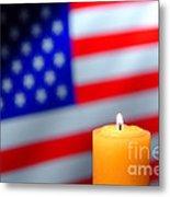 American Flag And Candle Metal Print