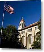 American Flag And Hoover Tower Stanford University Metal Print