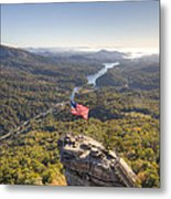 American Flag At Chimney Rock State Park North Carolina Metal Print