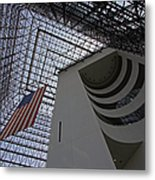 American Flag At The Jfk Library Metal Print by Juergen Roth
