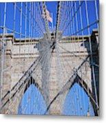 American Flag Flying Over Brooklyn Metal Print