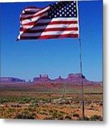 American Flag In Monument Valley Metal Print