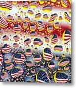 American Flag In Water Drops Metal Print