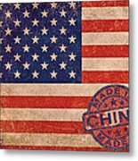 American Flag Made In China Metal Print