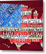 American Flag Map Of The United States In Vintage License Plates Metal Print