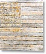 American Flag On Distressed Wood Beams White Yellow Gray And Brown Flag Metal Print
