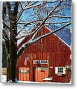 American Flag Red Barn Metal Print