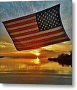 American Flag Sunset 14 2/18 Metal Print