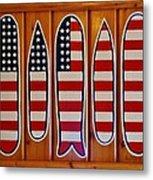 American Flag Surfboards Original Painting By Mark Lemmon Metal Print