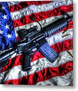 American Flag With Rifle Metal Print by Geoffrey Coelho