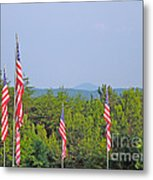 American Flags With Kennesaw Mountain In Background Metal Print