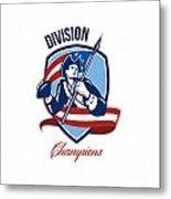 American Football Division Champions Shield Retro Metal Print