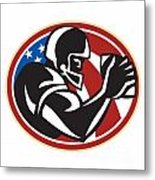American Football Wide Receiver Ball Metal Print by Aloysius Patrimonio