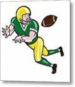 American Football Wide Receiver Catch Ball Cartoon Metal Print by Aloysius Patrimonio
