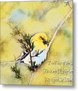 American Goldfinch On A Cedar Twig With Digital Paint And Verse Metal Print