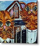 American Gothic Cats - A Parody Metal Print