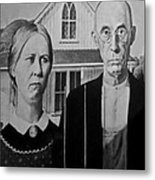 American Gothic In Black And White 1 Metal Print