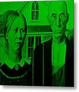 American Gothic In Green Metal Print