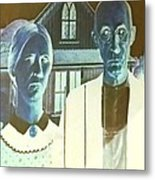American Gothic In Negative Metal Print