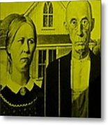 American Gothic In Yellow Metal Print