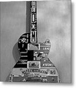 American Guitar In Black And White Metal Print