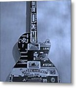 American Guitar In Cyan Metal Print