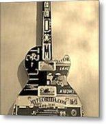American Guitar In Sepia Metal Print