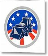 American Mechanical Digger Excavator Circle Metal Print by Aloysius Patrimonio