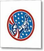 American Patriot Holding Spanner Circle Retro Metal Print