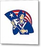 American Patriot Minuteman With Flag Retro Metal Print