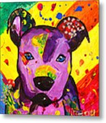 American Pitbull Terrier Dog Pop Art Metal Print