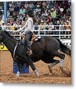 American Rodeo Female Barrel Racer Dark Horse I Metal Print by Sally Rockefeller