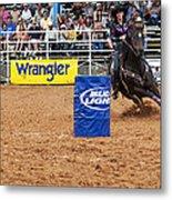 American Rodeo Female Barrel Racer White Star Horse I Metal Print by Sally Rockefeller