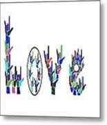 American Sign Language I Love You On White Metal Print