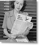 American Woman Reads A Government Metal Print