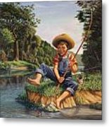 Americana - Country Boy Fishing In River Landscape - Square Format Image Metal Print
