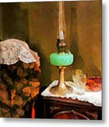 Americana - Still Life With Hurricane Lamp Metal Print