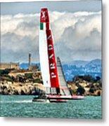 America's Cup And Alcatraz Ll Metal Print