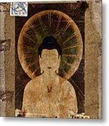 Amida Buddha Postcard Collage Metal Print