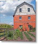 Amish Barn And Garden Metal Print
