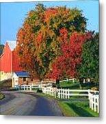 Amish Barn In Autumn Metal Print