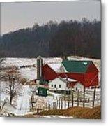 Amish Barn In Winter Metal Print by Dan Sproul