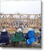 Amish Barn Raising Metal Print
