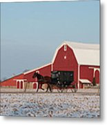 Amish Buggy And Red Barn Metal Print