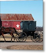 Amish Buggy And Star Barn Metal Print