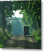 Amish  Buggy Gravel Road Metal Print