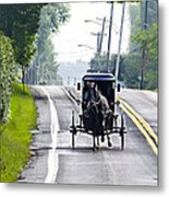 Amish Buggy In Lancaster County Pa. Metal Print